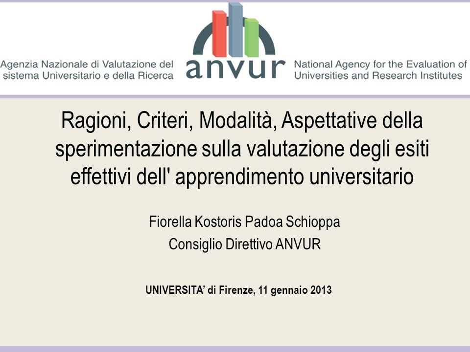 Ragioni, Criteri, Modalità, Aspettative della sperimentazione sulla valutazione degli esiti effettivi dell' apprendimento universitario Fiorella Kosto