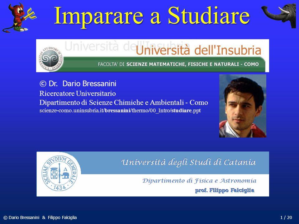 © Dario Bressanini & Filippo Falciglia1 / 20 Imparare a Studiare © Dr. Dario Bressanini Ricercatore Universitario Dipartimento di Scienze Chimiche e A