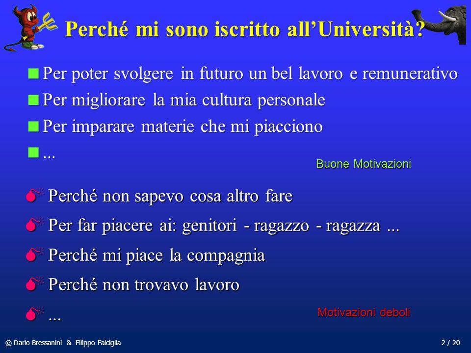 © Dario Bressanini & Filippo Falciglia2 / 20 Perché mi sono iscritto allUniversità? Per poter svolgere in futuro un bel lavoro e remunerativo Per pote