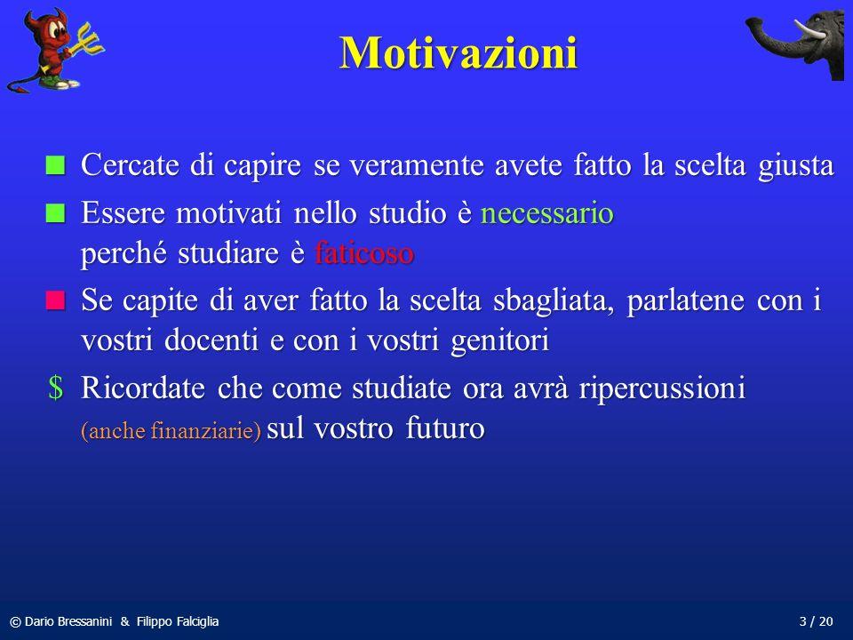 © Dario Bressanini & Filippo Falciglia3 / 20 Motivazioni Cercate di capire se veramente avete fatto la scelta giusta Cercate di capire se veramente av