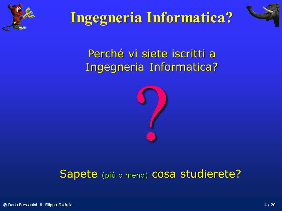 © Dario Bressanini & Filippo Falciglia4 / 20 Ingegneria Informatica? ? Sapete (più o meno) cosa studierete? Perché vi siete iscritti a Ingegneria Info