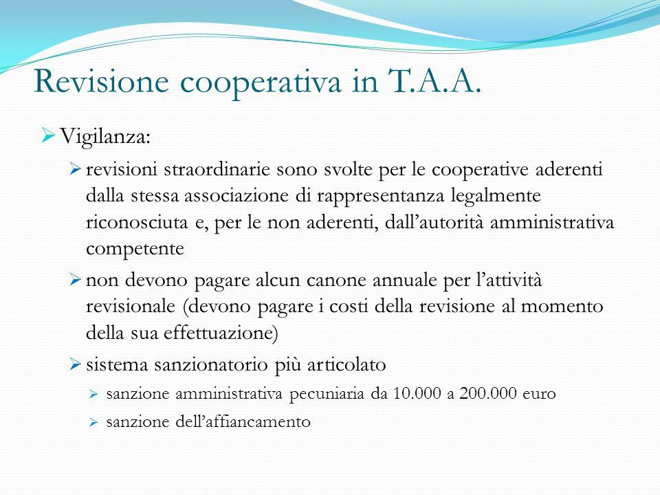 Revisione cooperativa in T.A.A. Vigilanza: revisioni straordinarie sono svolte per le cooperative aderenti dalla stessa associazione di rappresentanza