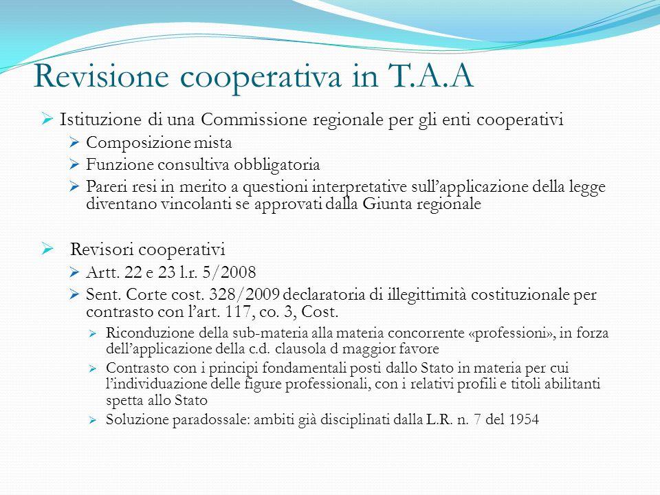 Revisione cooperativa in T.A.A Istituzione di una Commissione regionale per gli enti cooperativi Composizione mista Funzione consultiva obbligatoria P