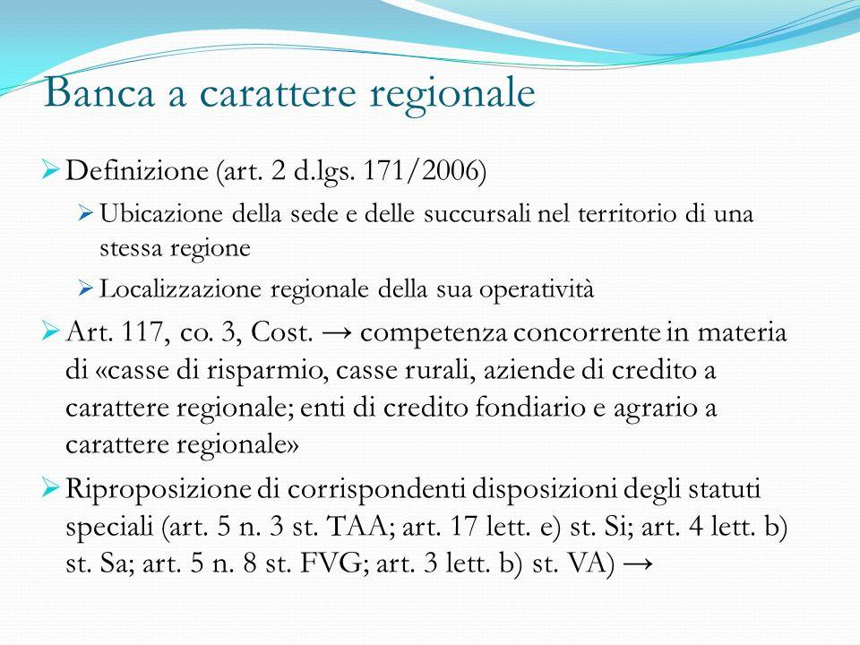 Banca a carattere regionale Definizione (art. 2 d.lgs. 171/2006) Ubicazione della sede e delle succursali nel territorio di una stessa regione Localiz