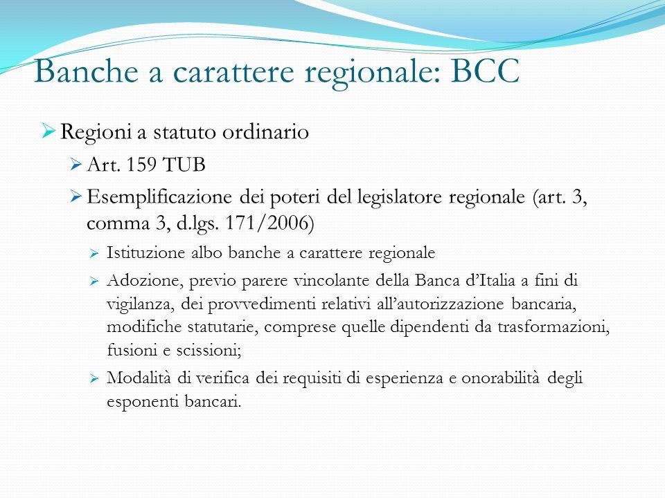 Banche a carattere regionale: BCC Regioni a statuto ordinario Art. 159 TUB Esemplificazione dei poteri del legislatore regionale (art. 3, comma 3, d.l