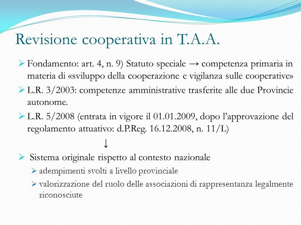 Revisione cooperativa in T.A.A. Fondamento: art. 4, n. 9) Statuto speciale competenza primaria in materia di «sviluppo della cooperazione e vigilanza