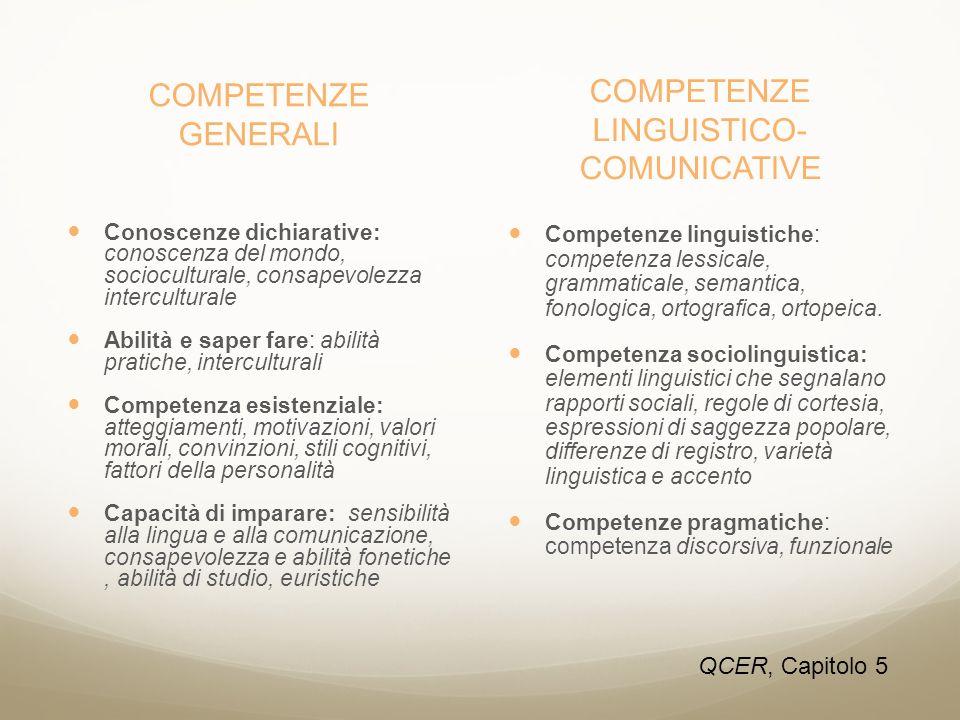 COMPETENZE GENERALI Conoscenze dichiarative: conoscenza del mondo, socioculturale, consapevolezza interculturale Abilità e saper fare: abilità pratich