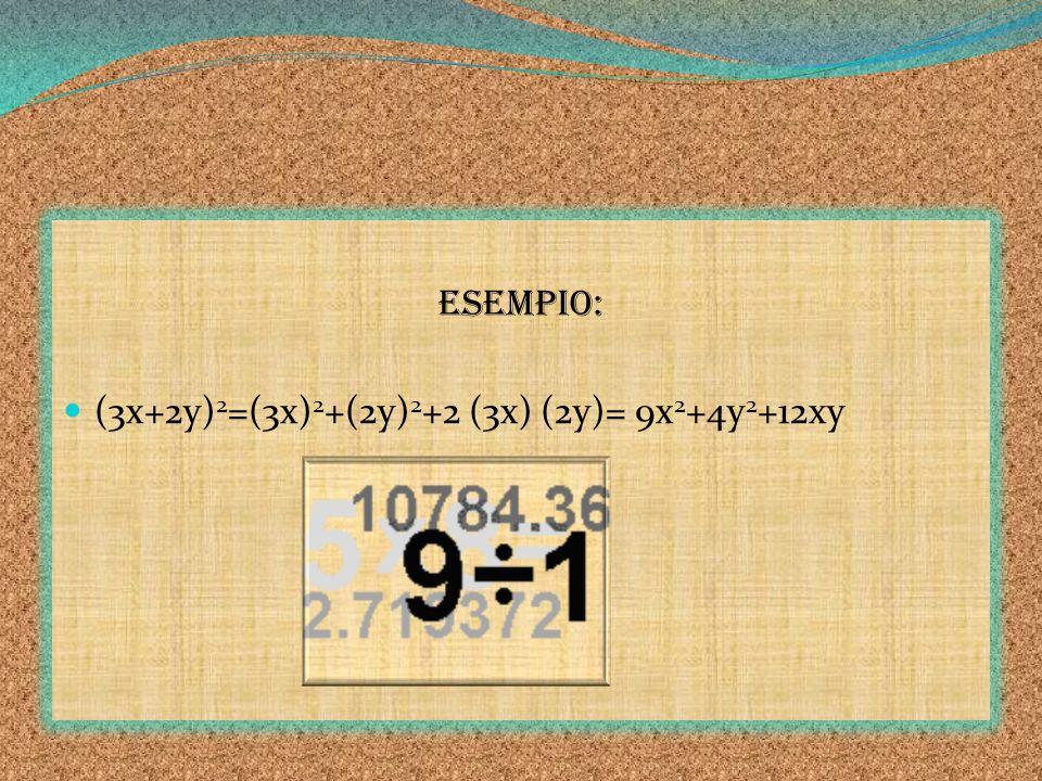 ESEMPIO: (3x+2y) 2 =(3x) 2 +(2y) 2 +2 (3x) (2y)= 9x 2 +4y 2 +12xy