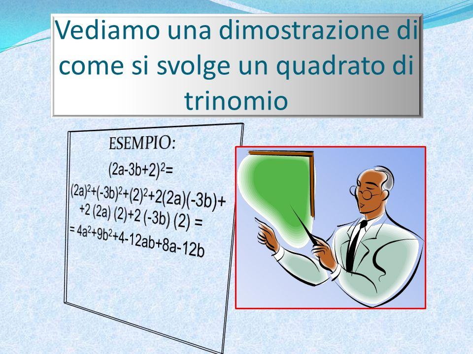 Quadrato di trinomio La formula per rappresentarlo è: (a+b+c) 2 = (a) 2 + (b) 2 + (c) 2 +2(a)(b) +2(a)(c) +2(b)(c) Questa formula si legge: Quadrato del primo monomio + quadrato del secondo monomio + quadrato del terzo monomio + doppio prodotto del primo per il secondo + doppio prodotto del primo per il terzo + doppio prodotto del secondo per il terzo