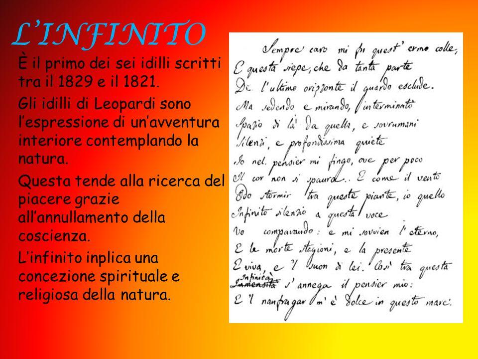 LINFINITO È il primo dei sei idilli scritti tra il 1829 e il 1821. Gli idilli di Leopardi sono lespressione di unavventura interiore contemplando la n
