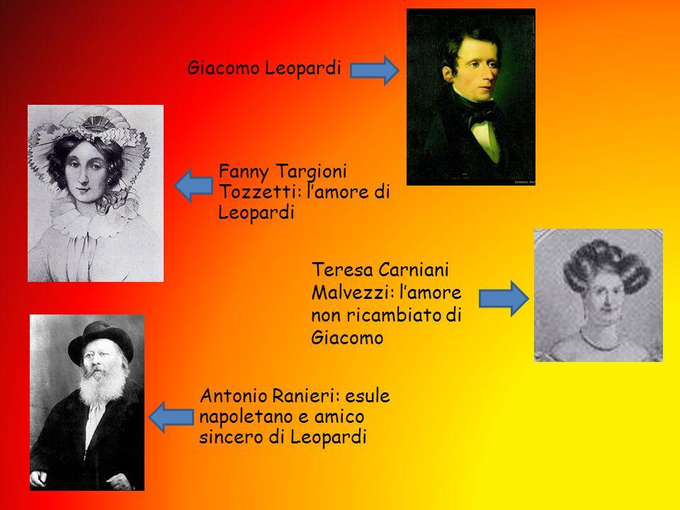 Giacomo Leopardi Fanny Targioni Tozzetti: lamore di Leopardi Antonio Ranieri: esule napoletano e amico sincero di Leopardi Teresa Carniani Malvezzi: l