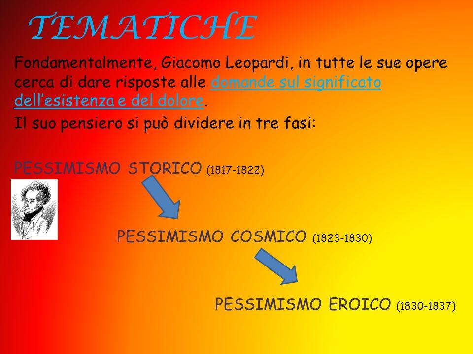 TEMATICHE Fondamentalmente, Giacomo Leopardi, in tutte le sue opere cerca di dare risposte alle domande sul significato dellesistenza e del dolore. Il