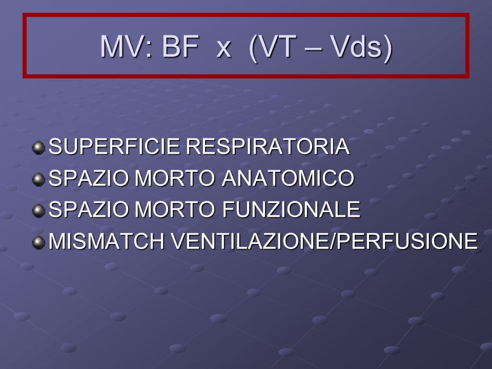 MV: BF x (VT – Vds) SUPERFICIE RESPIRATORIA SPAZIO MORTO ANATOMICO SPAZIO MORTO FUNZIONALE MISMATCH VENTILAZIONE/PERFUSIONE