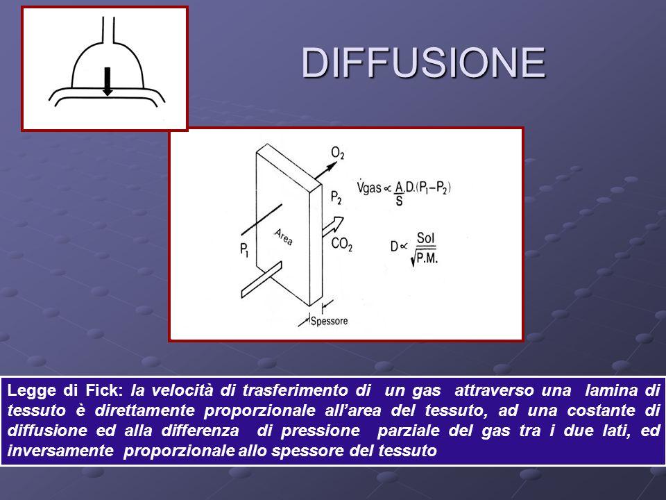 DIFFUSIONE DIFFUSIONE Legge di Fick: la velocità di trasferimento di un gas attraverso una lamina di tessuto è direttamente proporzionale allarea del