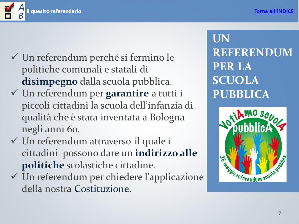 7 Il quesito referendario UN REFERENDUM PER LA SCUOLA PUBBLICA Un referendum perché si fermino le politiche comunali e statali di disimpegno dalla scuola pubblica.
