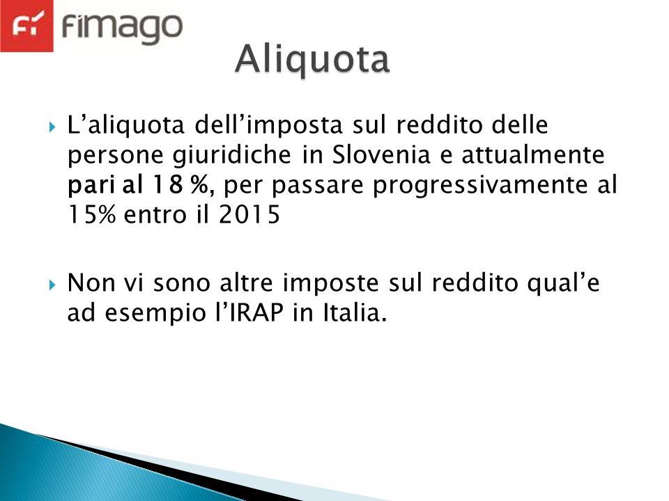 Laliquota dellimposta sul reddito delle persone giuridiche in Slovenia e attualmente pari al 18 %, per passare progressivamente al 15% entro il 2015 Non vi sono altre imposte sul reddito quale ad esempio lIRAP in Italia.
