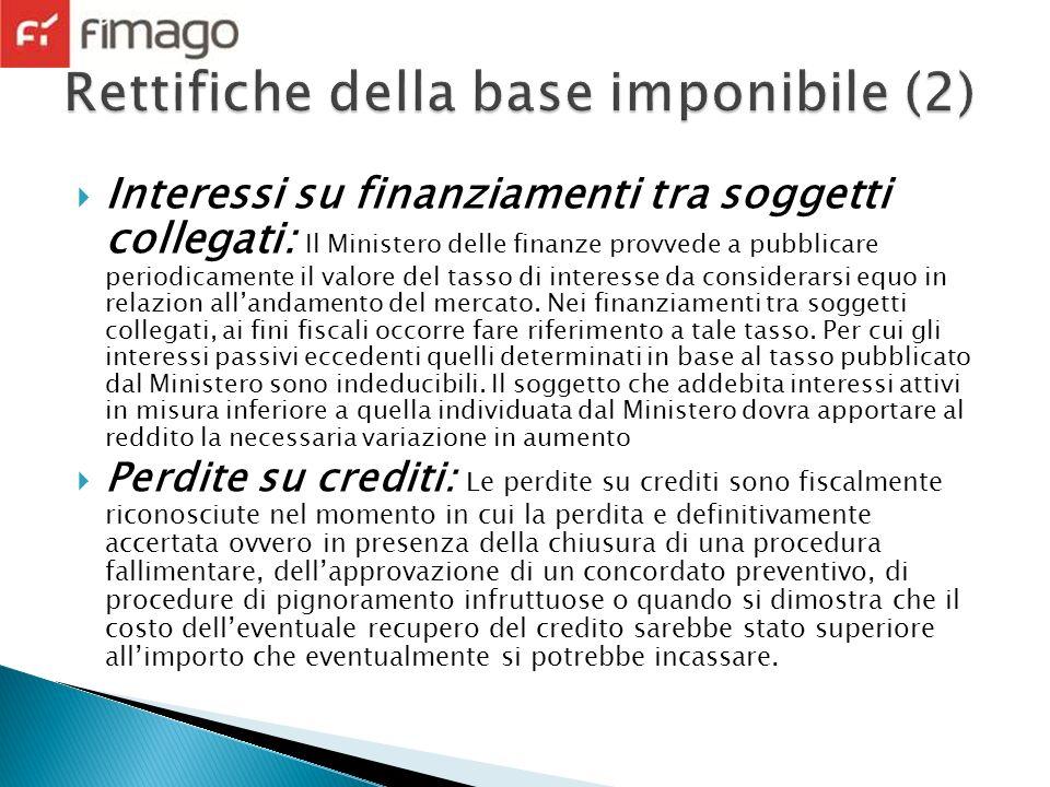 Interessi su finanziamenti tra soggetti collegati: Il Ministero delle finanze provvede a pubblicare periodicamente il valore del tasso di interesse da considerarsi equo in relazion allandamento del mercato.