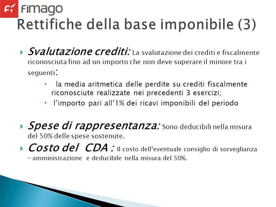Svalutazione crediti: La svalutazione dei crediti e fiscalmente riconosciuta fino ad un importo che non deve superare il minore tra i seguenti : la me
