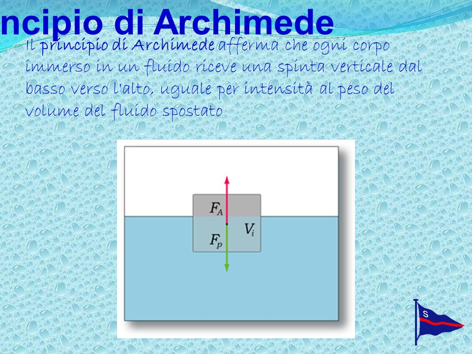 Principio di Archimede Il principio di Archimede afferma che ogni corpo immerso in un fluido riceve una spinta verticale dal basso verso l alto, uguale per intensità al peso del volume del fluido spostato