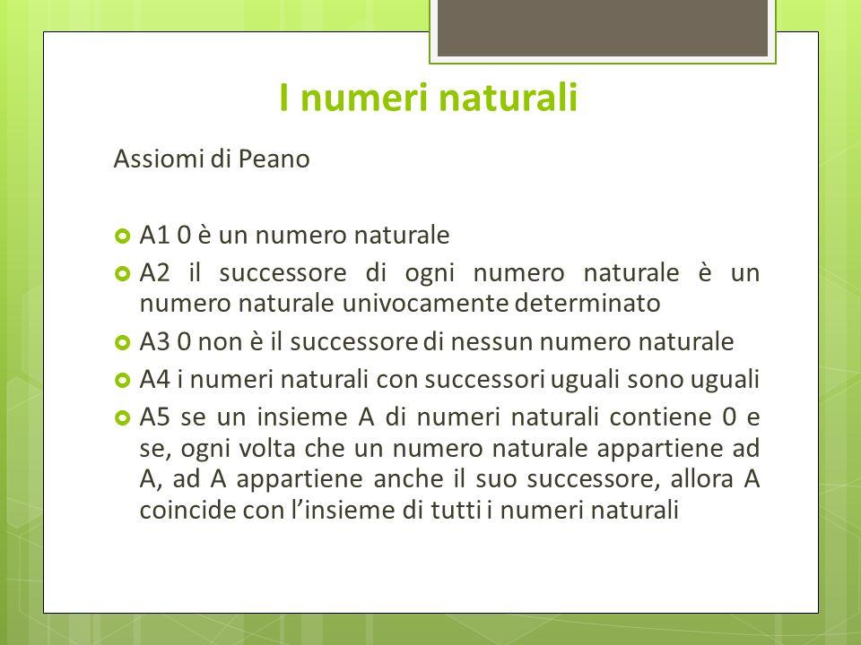 I numeri naturali Assiomi di Peano A1 0 è un numero naturale A2 il successore di ogni numero naturale è un numero naturale univocamente determinato A3 0 non è il successore di nessun numero naturale A4 i numeri naturali con successori uguali sono uguali A5 se un insieme A di numeri naturali contiene 0 e se, ogni volta che un numero naturale appartiene ad A, ad A appartiene anche il suo successore, allora A coincide con linsieme di tutti i numeri naturali