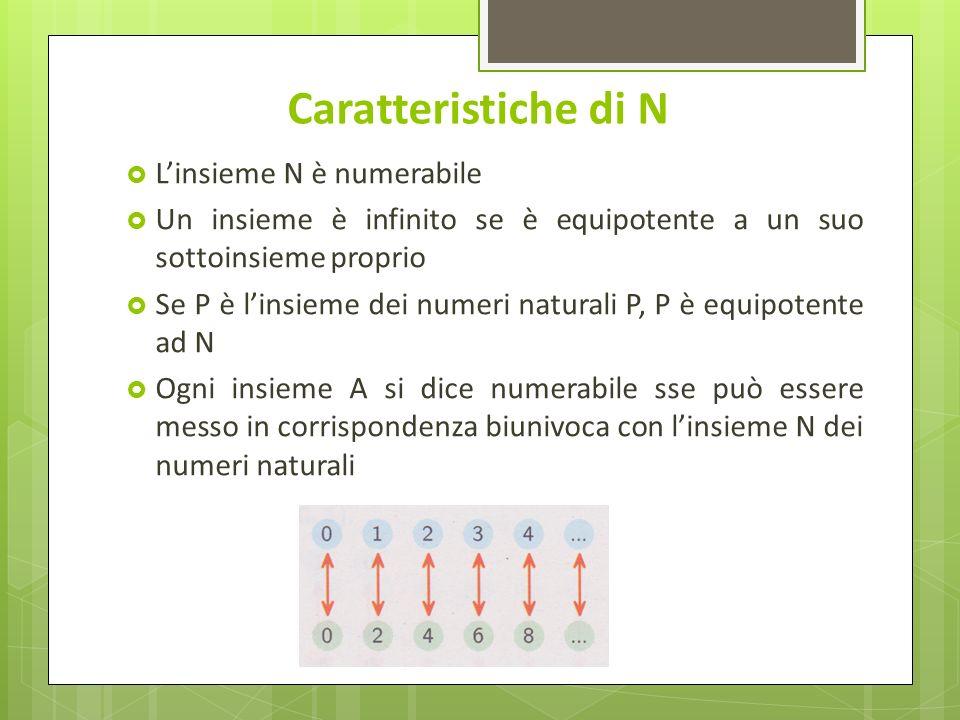 Caratteristiche di N Linsieme N è numerabile Un insieme è infinito se è equipotente a un suo sottoinsieme proprio Se P è linsieme dei numeri naturali