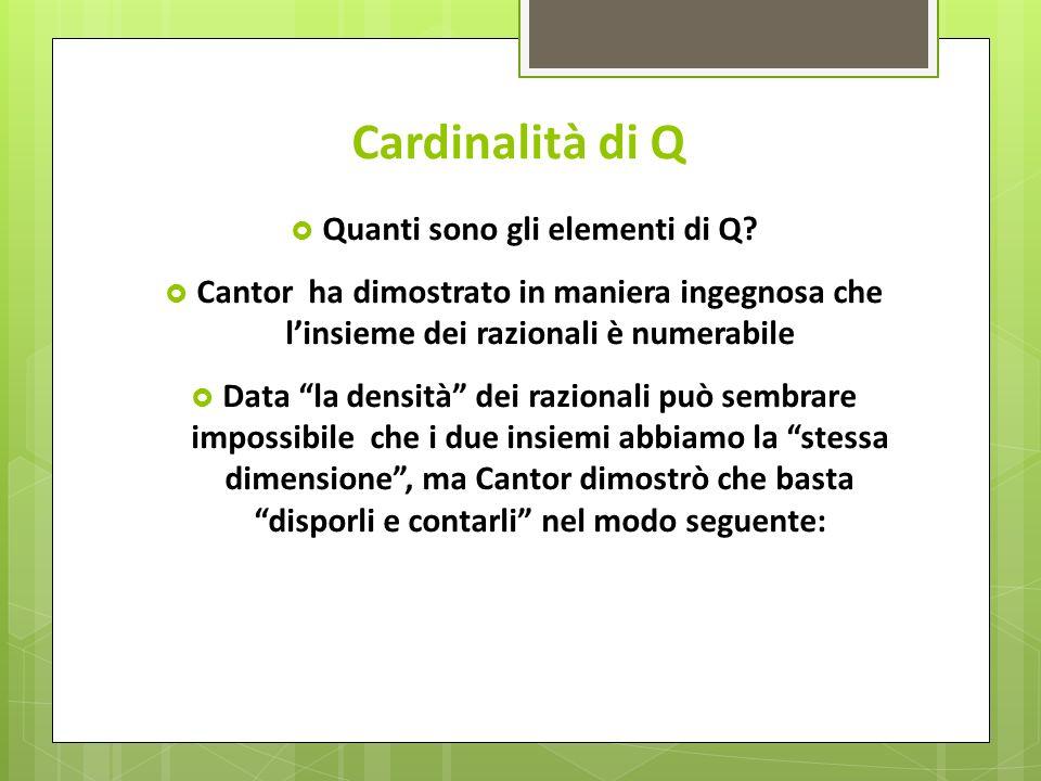 Cardinalità di Q Quanti sono gli elementi di Q? Cantor ha dimostrato in maniera ingegnosa che linsieme dei razionali è numerabile Data la densità dei