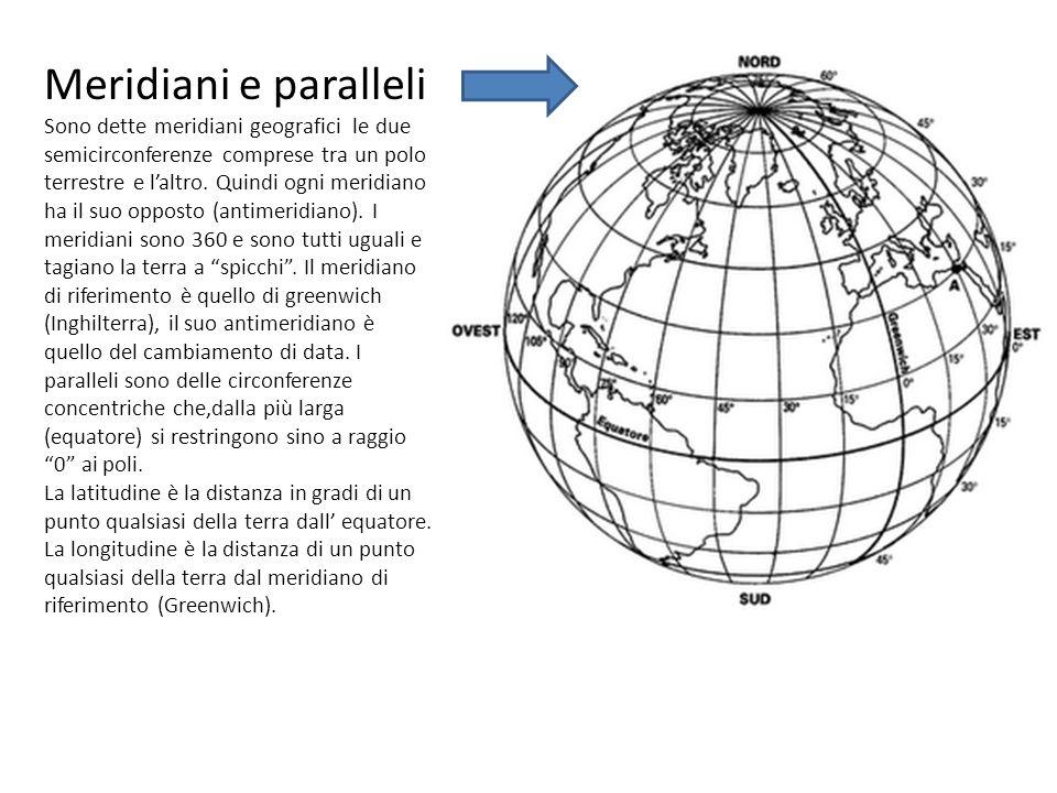 Meridiani e paralleli Sono dette meridiani geografici le due semicirconferenze comprese tra un polo terrestre e laltro.