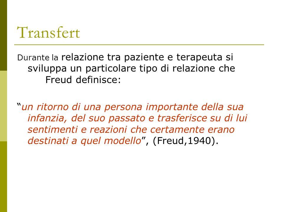 Transfert Durante la relazione tra paziente e terapeuta si sviluppa un particolare tipo di relazione che Freud definisce: un ritorno di una persona im