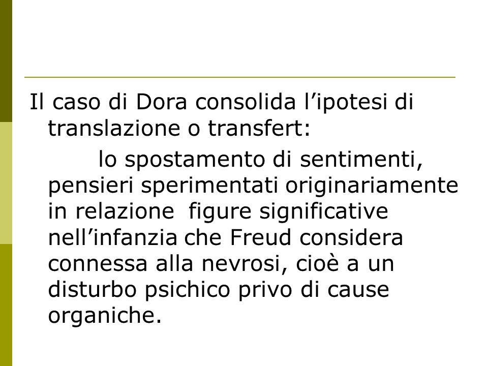 Il caso di Dora consolida lipotesi di translazione o transfert: lo spostamento di sentimenti, pensieri sperimentati originariamente in relazione figur
