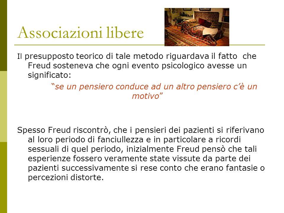 Associazioni libere Il presupposto teorico di tale metodo riguardava il fatto che Freud sosteneva che ogni evento psicologico avesse un significato: s