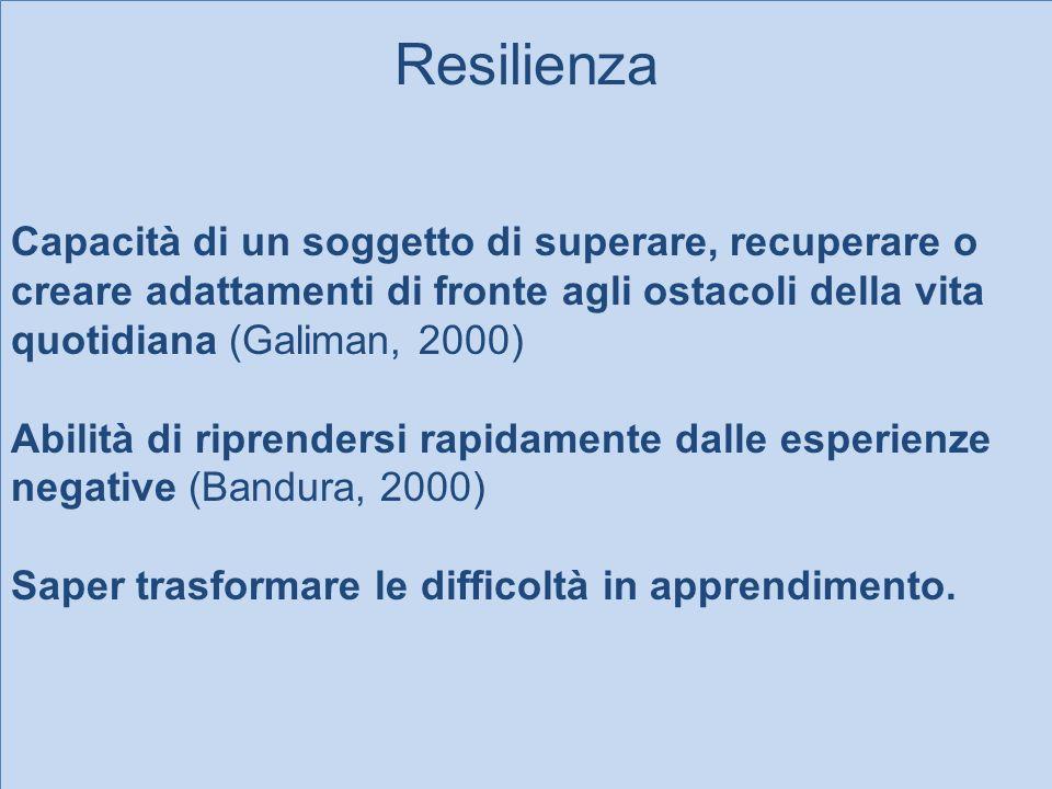 Resilienza Capacità di un soggetto di superare, recuperare o creare adattamenti di fronte agli ostacoli della vita quotidiana (Galiman, 2000) Abilità
