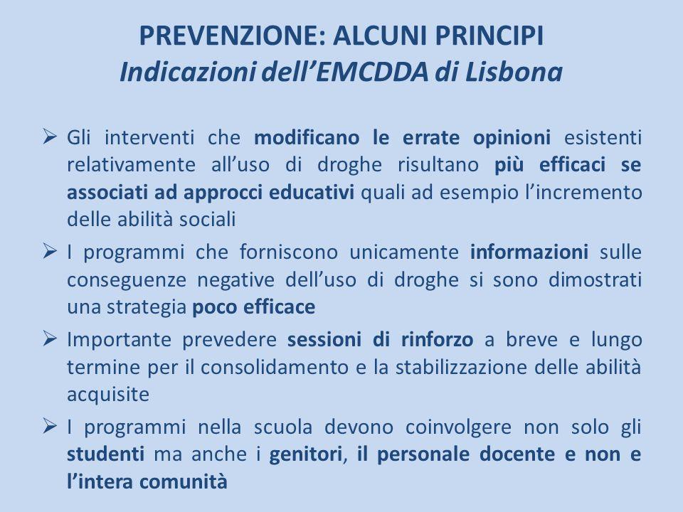 PREVENZIONE: ALCUNI PRINCIPI Indicazioni dellEMCDDA di Lisbona Gli interventi che modificano le errate opinioni esistenti relativamente alluso di drog