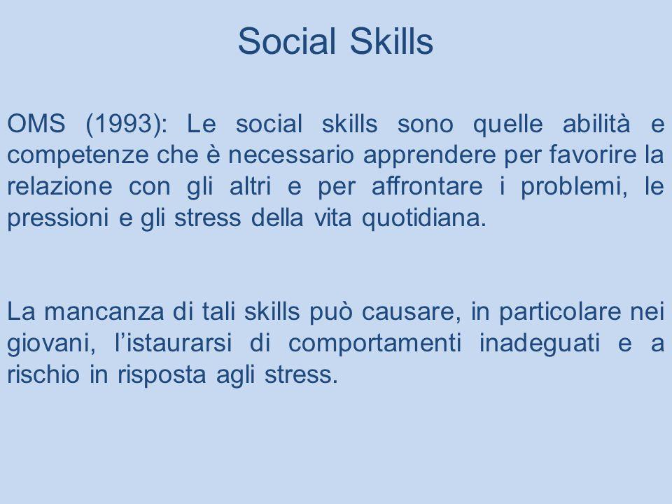 Social Skills OMS (1993): Le social skills sono quelle abilità e competenze che è necessario apprendere per favorire la relazione con gli altri e per