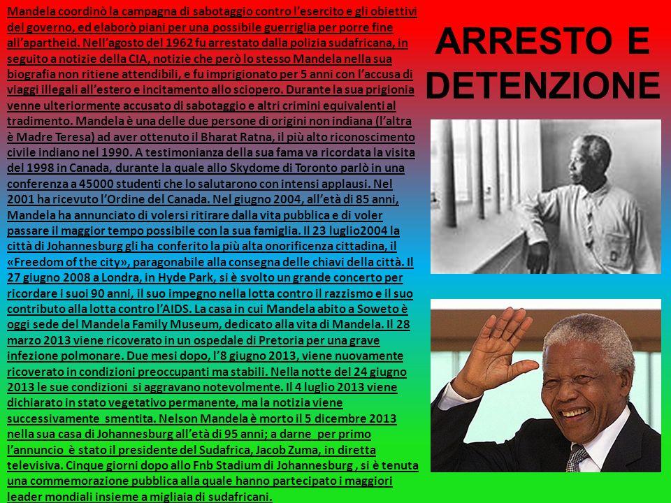 Nelson Rolihlahla Mandela(Mvezo,18 luglio 1918-Johannesburg,5 dicembre 2013)è stato un politico sudafricano, primo presidente ad essere eletto dopo la fine dellapartheid nel suo Paese e premio Nobel per la pace nel 1993.