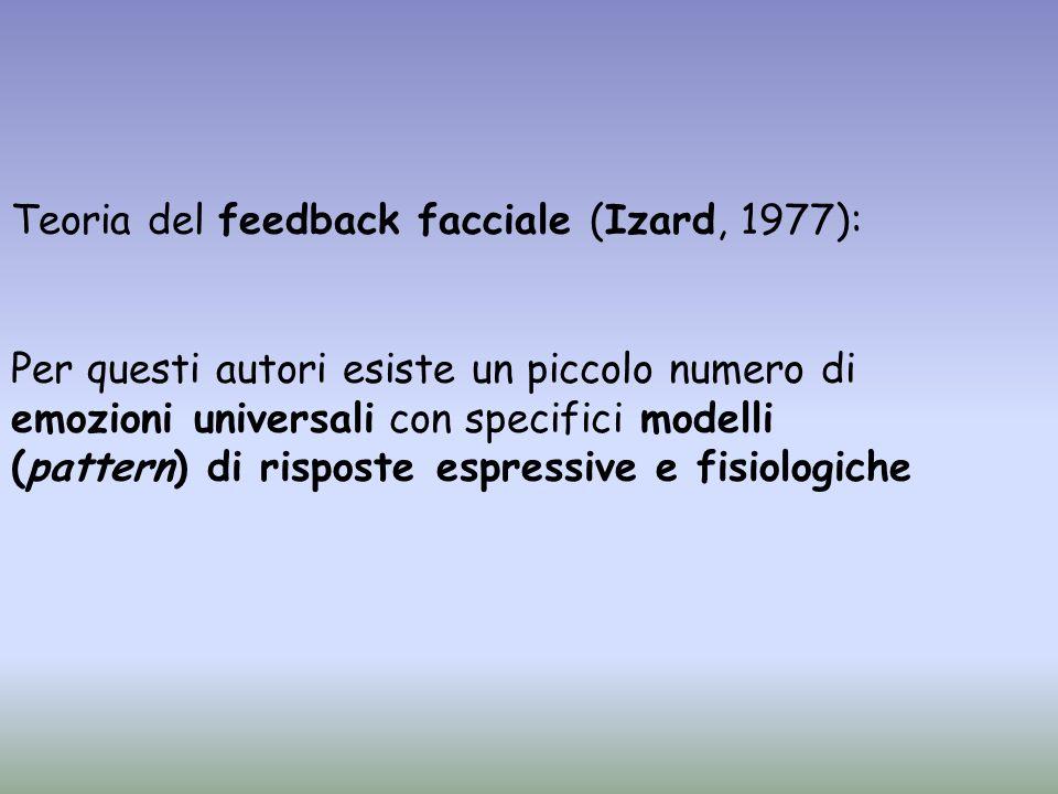 Teoria del feedback facciale (Izard, 1977): Per questi autori esiste un piccolo numero di emozioni universali con specifici modelli (pattern) di rispo