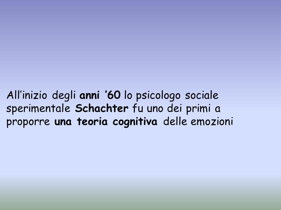 Per Schachter sono necessari due fattori per suscitare le emozioni: -cognizioni riguardanti linterpretazione della situazione.