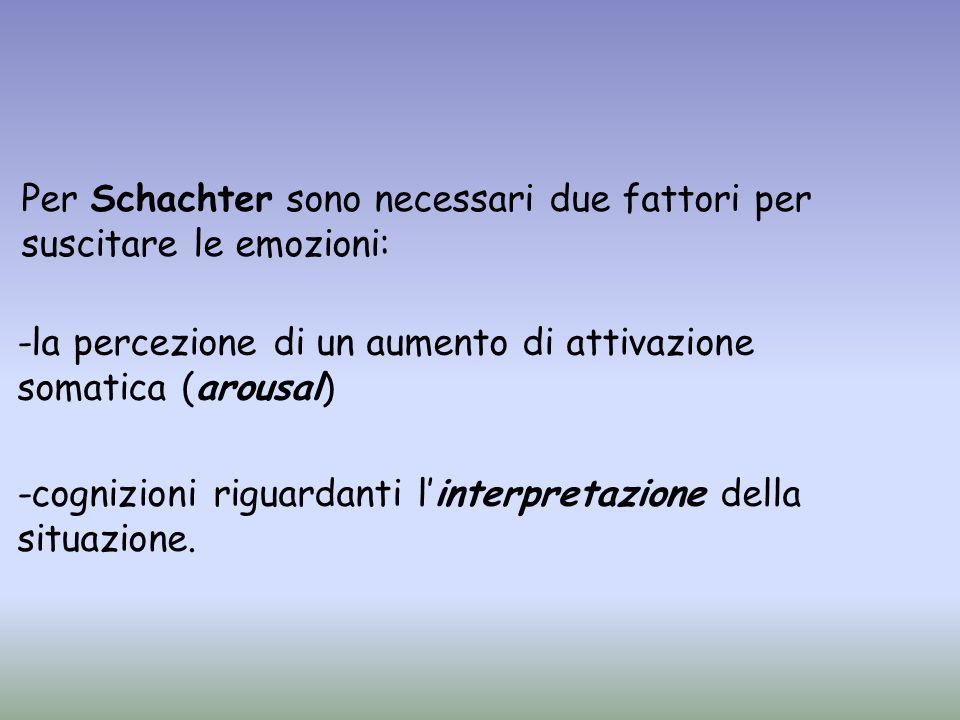 Per Schachter sono necessari due fattori per suscitare le emozioni: -cognizioni riguardanti linterpretazione della situazione. -la percezione di un au