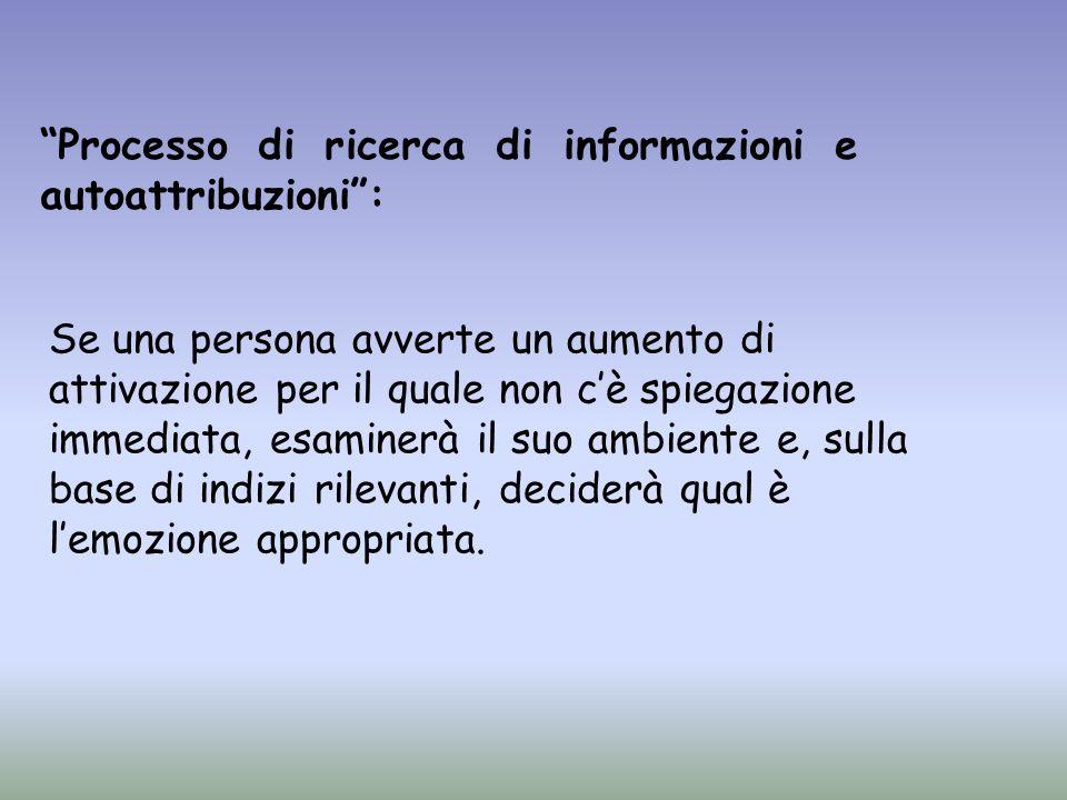 Processo di ricerca di informazioni e autoattribuzioni: Se una persona avverte un aumento di attivazione per il quale non cè spiegazione immediata, es