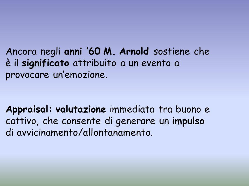 Ancora negli anni 60 M. Arnold sostiene che è il significato attribuito a un evento a provocare unemozione. Appraisal: valutazione immediata tra buono