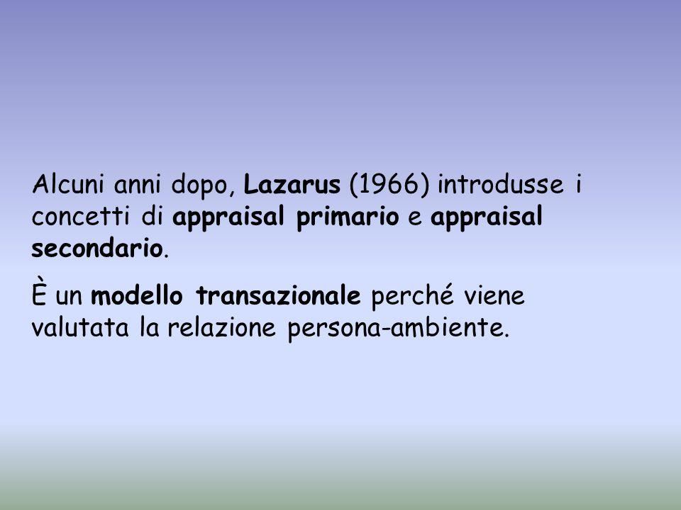 Alcuni anni dopo, Lazarus (1966) introdusse i concetti di appraisal primario e appraisal secondario. È un modello transazionale perché viene valutata