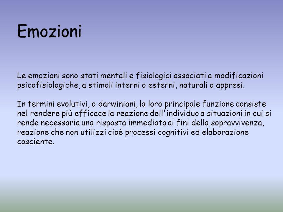 Le emozioni sono stati mentali e fisiologici associati a modificazioni psicofisiologiche, a stimoli interni o esterni, naturali o appresi. In termini