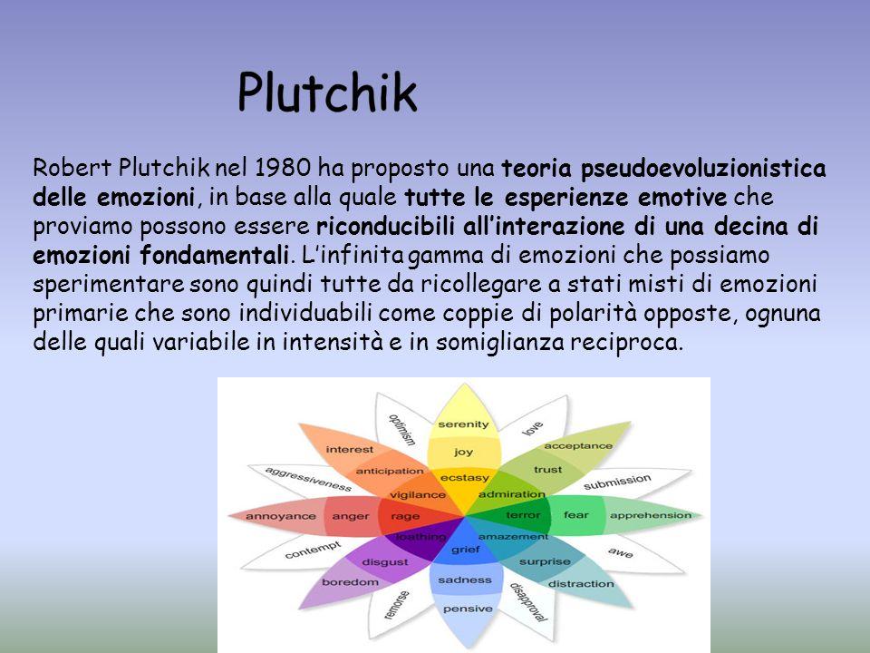 Robert Plutchik nel 1980 ha proposto una teoria pseudoevoluzionistica delle emozioni, in base alla quale tutte le esperienze emotive che proviamo poss