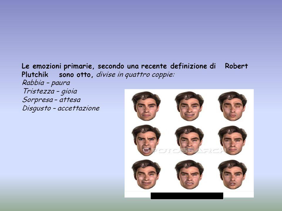 Le emozioni primarie, secondo una recente definizione di Robert Plutchik sono otto, divise in quattro coppie: Rabbia – paura Tristezza – gioia Sorpres