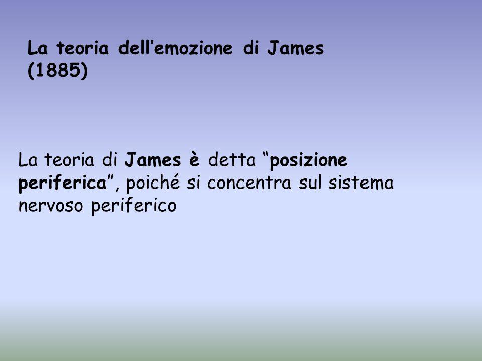 SITUAZIONI ESTERNE REAZIONI CORPOREE PERCEZIONE EMOZIONE MECCANISMO INNATO/ISTINTUALE STIMOLORISPOSTA Il processo emotivo per James Lemozione è provocata dalla consapevolezza di specifici cambiamenti a livello corporeo