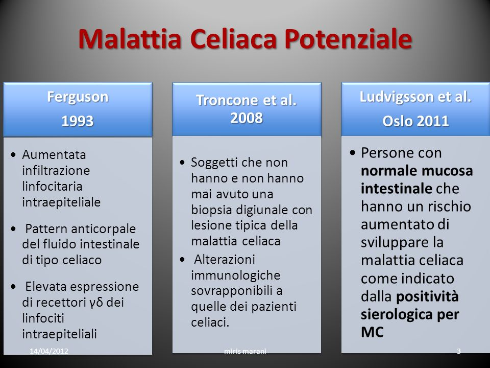 Celiachia Potenziale Abbiamo markers predittivi di evoluzione verso una lesione mucosale di grado più elevato.