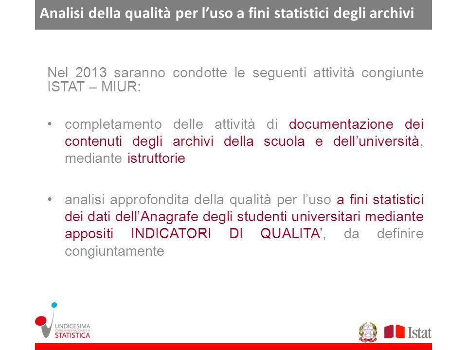 Analisi della qualità per luso a fini statistici degli archivi Nel 2013 saranno condotte le seguenti attività congiunte ISTAT – MIUR: completamento de