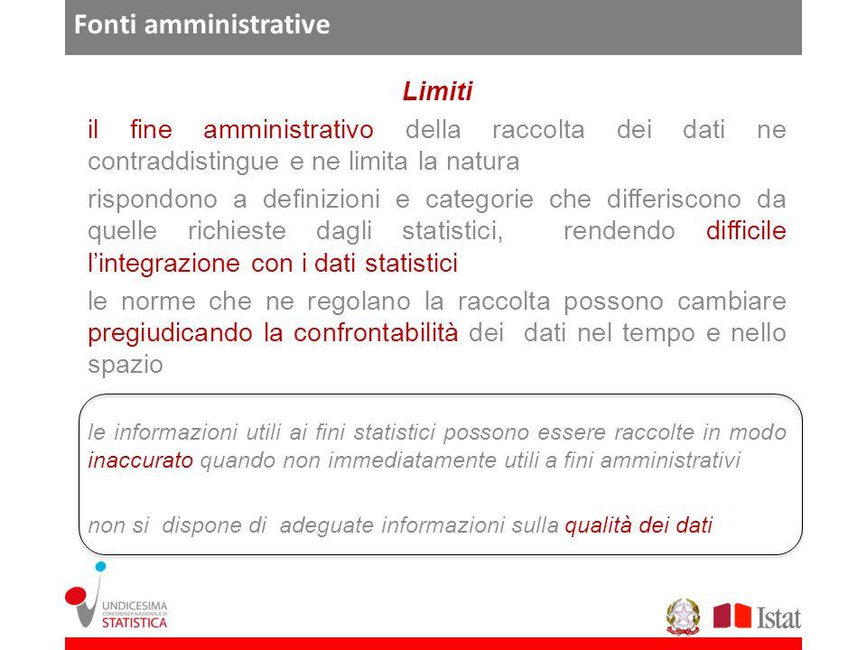 Fonti amministrative Limiti il fine amministrativo della raccolta dei dati ne contraddistingue e ne limita la natura rispondono a definizioni e catego