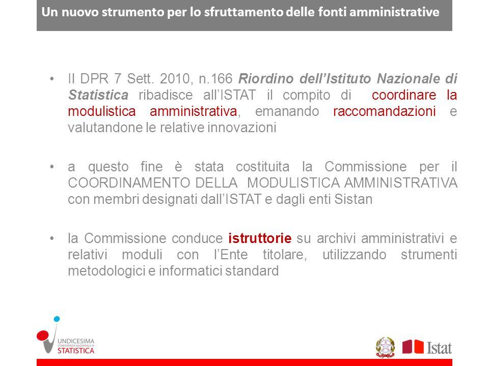 Un nuovo strumento per lo sfruttamento delle fonti amministrative Il DPR 7 Sett. 2010, n.166 Riordino dellIstituto Nazionale di Statistica ribadisce a