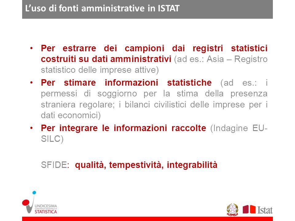 Luso di fonti amministrative in ISTAT Per estrarre dei campioni dai registri statistici costruiti su dati amministrativi (ad es.: Asia – Registro stat