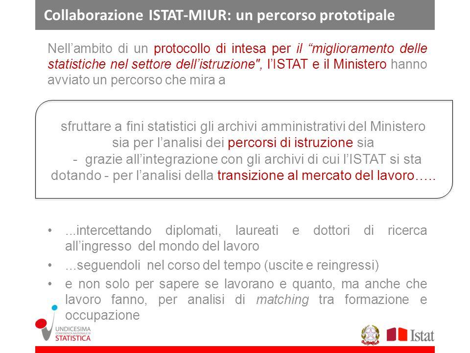 Collaborazione ISTAT-MIUR: un percorso prototipale Nellambito di un protocollo di intesa per il miglioramento delle statistiche nel settore dellistruz